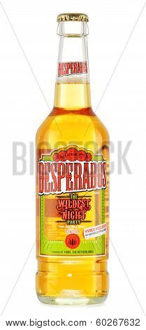 Bottle of Desperados isolated on white