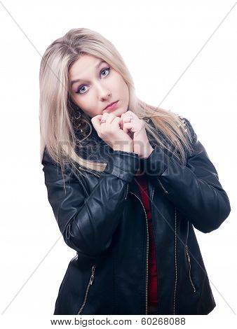 Sad blonde  in leather jacket