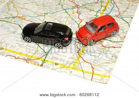 Small Toy Cars On Road Map