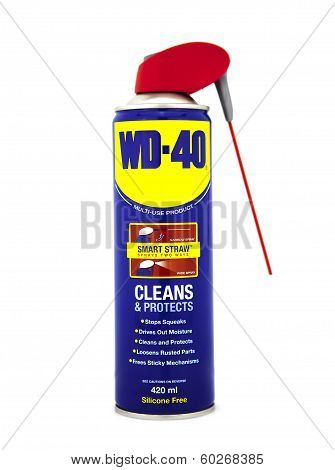 Can Of Wd 40 On A White Background