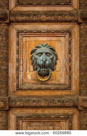 Old Wooden Door With Lion Handle