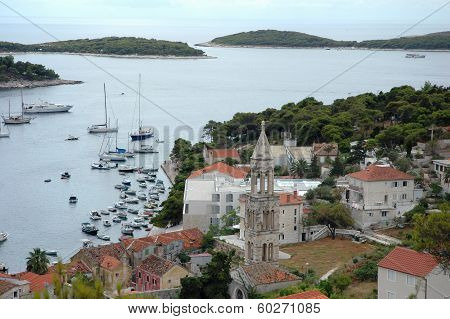 Hvar And Its Marine with boats On a Cloudy Weather
