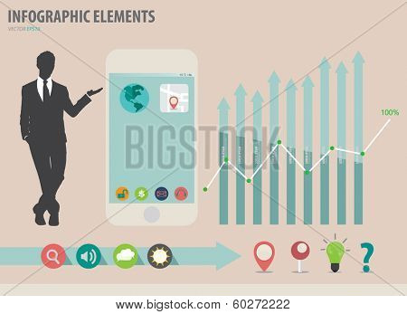 Vector illustration of businessman showing touchscreen device with colorful infographics paper template.