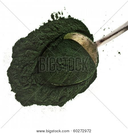 Spirulina powder - algae, nutritional supplement in tea spoon  isolated on white background