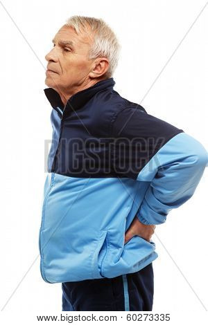 Senior man in training suit feeling pain in his back