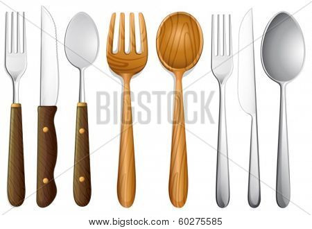 Illustration of cutlery set on white