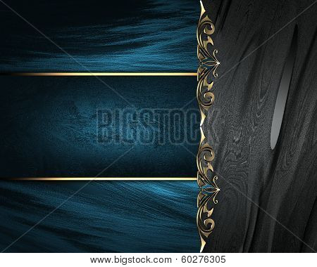 Black Plate With Gold Ornate Edges, On Blue Background