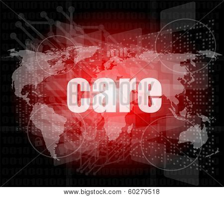 Care Word On Digital Screen