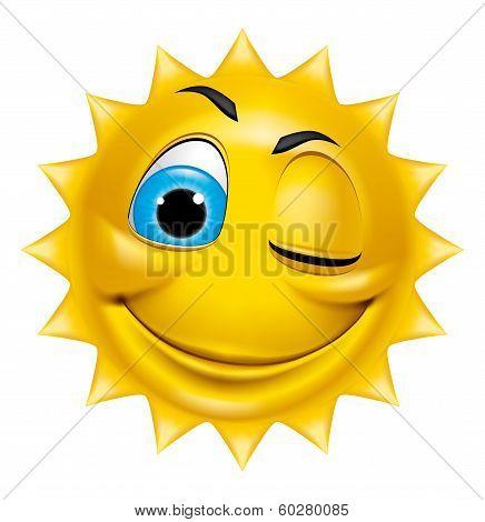Sun Character Winking