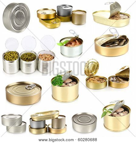 Collage of tin cans with food isolated on white