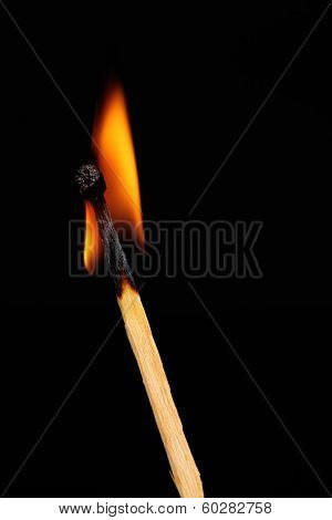 Burning match on black background