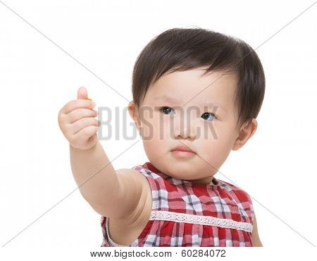 Asia baby girl thumb up