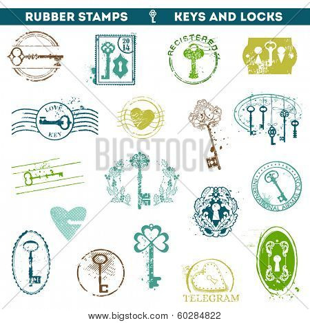 Set of Rubber Stamps - Antique Keys and Locks - for your design or scrapbook - in vector