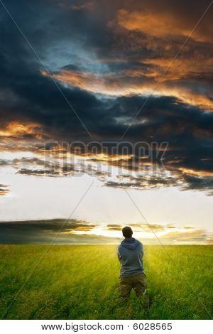 Man Under The Strom Clouds