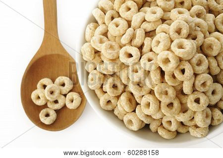Whole Grain Cheerios Cereal On White Background
