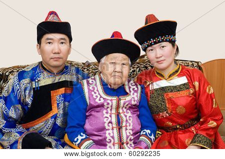 Buryat (mongolian) Grandmother And Her Grandchildren