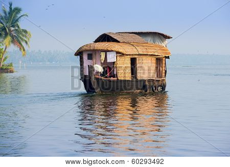Landscape With Houseboat In Kerala Backwaters, India