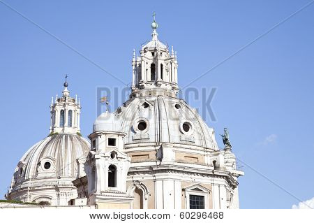 Church Of Santa Maria Di Loreto And Trajan Column In Rome. Italy
