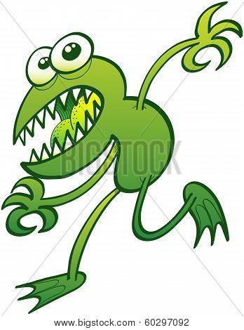 Mutant green frog running away