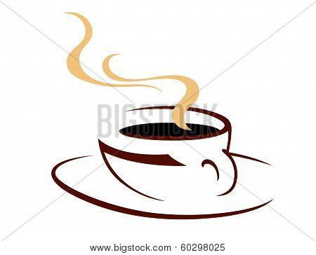 Steaming hot cup of aromatic coffee