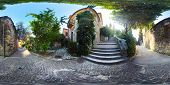 Spherical, 360 degrees panorama of the green yard in the city of Verona, Italy