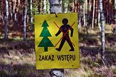 stock photo of no entry  - No access in the forest forbidden no entry - JPG