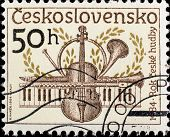 CZECHOSLOVAKIA - CIRCA 1984: A stamp printed in Czechoslovakia, shows Musical instruments , circa 19