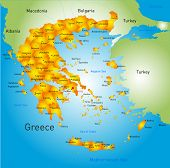 stock photo of piraeus  - Vector detailed map of Greece country - JPG