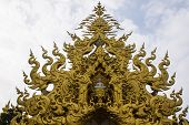 picture of apex  - Golden Gable Apex In Wat Rong Khun  - JPG