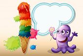 Illustration of a lavender monster holding a flower near the giant icecream