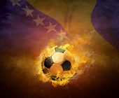 Hot soccer ball in fires flame, Bosnia and Herzegovina team.