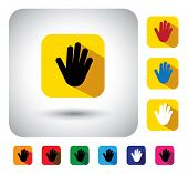 Hand Or Palm Sign On Button - Flat Design Vector Icon