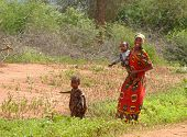Marsabit, Kenya - November 27, 2008: An Unknown Woman From The Tribe Tsonga With Two Unfamiliar Youn