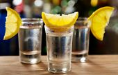 picture of vodka  - cold glasses of vodka with lemon in a bar - JPG