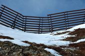 pic of avalanche  - Anti avalanche structure on the side of a mountain in Austria nearby Kaltenbach in Zillertal valley - JPG