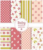 stock photo of buggy  - Collection of baby seamless patterns in delicate white pink and green colors - JPG