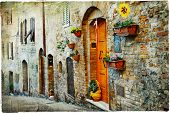 image of medieval  - charming old streets of medieval towns of Tuscany - JPG