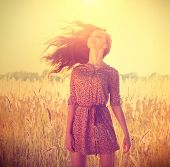 foto of hair blowing  - Beauty Romantic Girl Outdoors - JPG