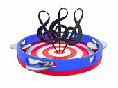 picture of dimentional  - Three treble clefs on tambourine - JPG