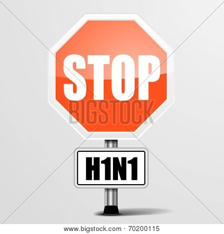 detailed illustration of a red stop H1N1 sign, eps10 vector