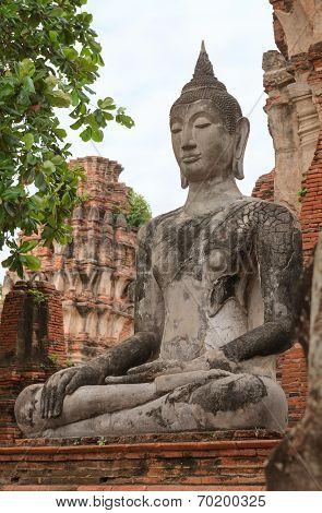 Buddha Statue In Meditate Bhumisparsha Mudra Posture