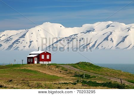 Iceland  Landscape. Fjord Eyjafjordur, House, Mountains