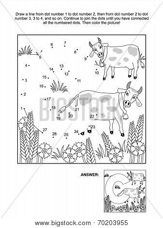 Dot-to-dot and coloring page - letter C, cows and cornflowers
