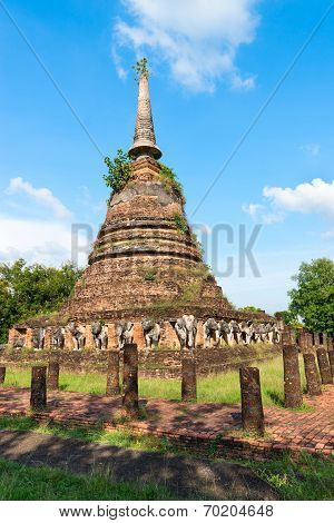 Ruins Of Buddhist Stupa Or Chedi Temple