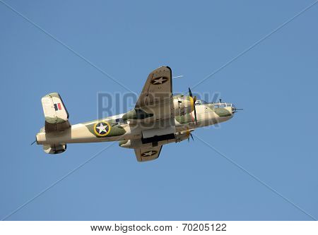 World War Ii Era Bomber In Flight