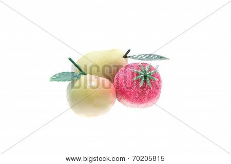 Marzipan aplle,pear,strawberry