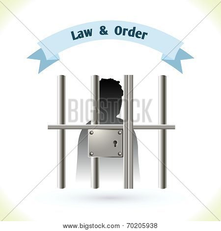 Law icon prisoner in jail