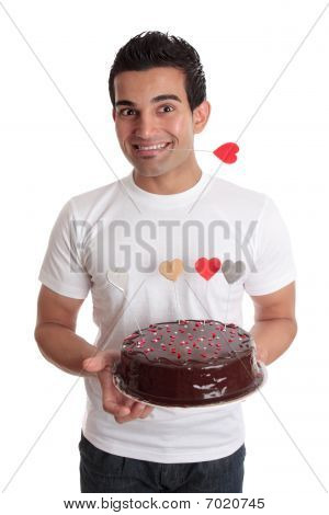 Valentine Fun- Male With Chocolate Heart Cake
