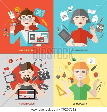 Arts And Design Occupations Flat Illustrations