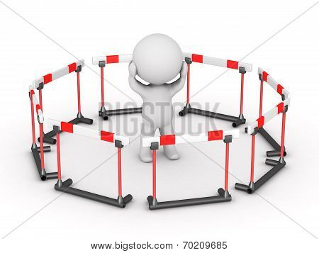 3D Character Surrounded By Barriers
